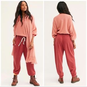Free People Slouch Joggers Light Red